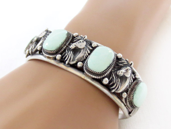 Image 1 of    Sterling Silver & Turquoise Horse Bracelet Native American Jewelry - 3435rb