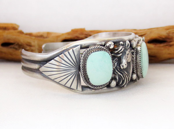 Image 2 of    Sterling Silver & Turquoise Horse Bracelet Native American Jewelry - 3435rb