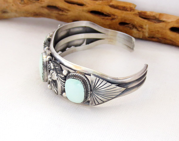 Image 3 of    Sterling Silver & Turquoise Horse Bracelet Native American Jewelry - 3435rb