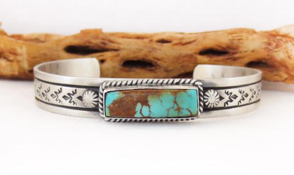Kingman Turquoise & Sterling Silver Bracelet Navajo Jewelry - 3427dt