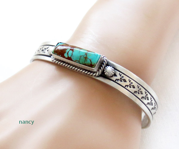 Image 1 of      Kingman Turquoise & Sterling Silver Bracelet Navajo Jewelry - 3427dt