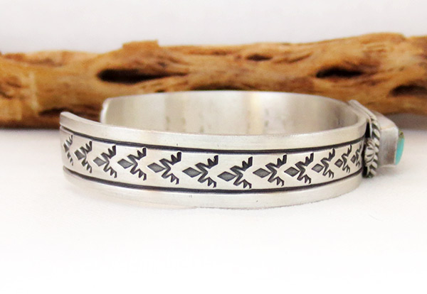 Image 2 of      Kingman Turquoise & Sterling Silver Bracelet Navajo Jewelry - 3427dt