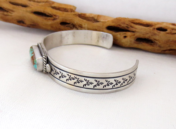 Image 3 of      Kingman Turquoise & Sterling Silver Bracelet Navajo Jewelry - 3427dt
