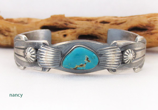 Image 0 of     Sterling Silver & Turquoise Bracelet Native American Jewelry - 3701dt
