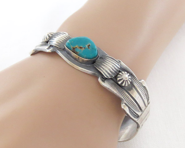 Image 1 of     Sterling Silver & Turquoise Bracelet Native American Jewelry - 3701dt