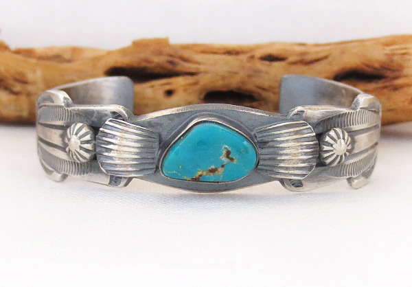 Sterling Silver & Turquoise Bracelet Native American Jewelry - 3701dt