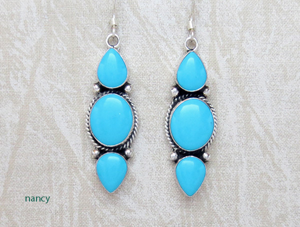 Image 0 of     Turquoise & Sterling Silver Earrings Native American Jewelry - 3708sw