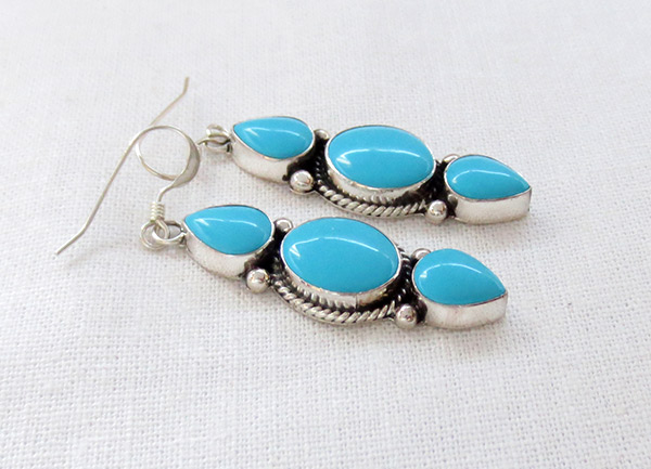 Image 1 of     Turquoise & Sterling Silver Earrings Native American Jewelry - 3708sw