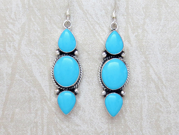 Turquoise & Sterling Silver Earrings Native American Jewelry - 3708sw