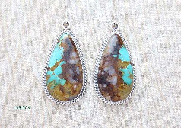 Boulder Turquoise & Sterling Silver Earrings Native American Jewelry - 3706rb