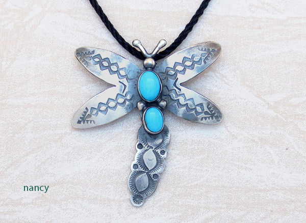 Turquoise & Sterling Silver Dragonfly Pendant Navajo Jewelry - 3432sw