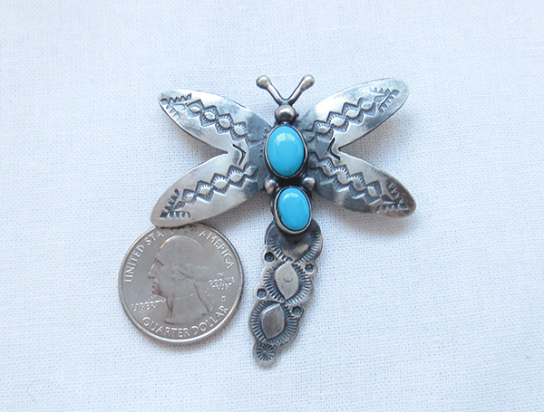 Image 1 of Turquoise & Sterling Silver Dragonfly Pendant Navajo Jewelry - 3432sw