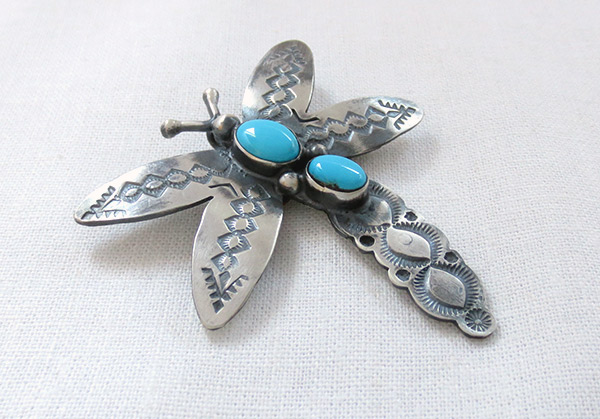Image 2 of Turquoise & Sterling Silver Dragonfly Pendant Navajo Jewelry - 3432sw