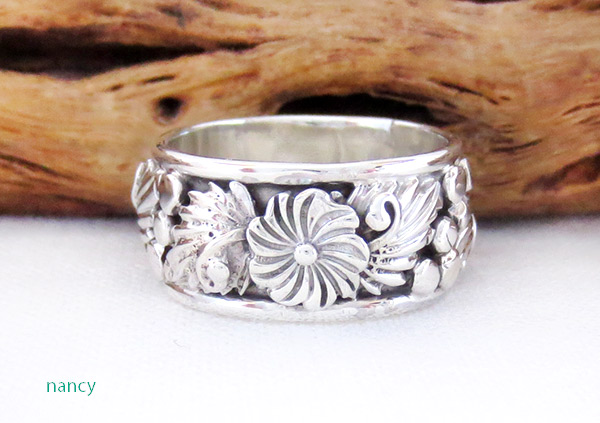 Image 1 of       Navajo Jewelry Sterling Silver Flower Ring Sz 6.75 - 3712rb
