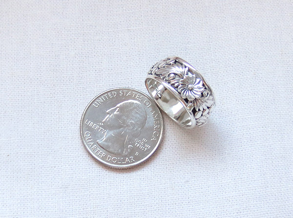 Image 2 of       Navajo Jewelry Sterling Silver Flower Ring Sz 6.75 - 3712rb