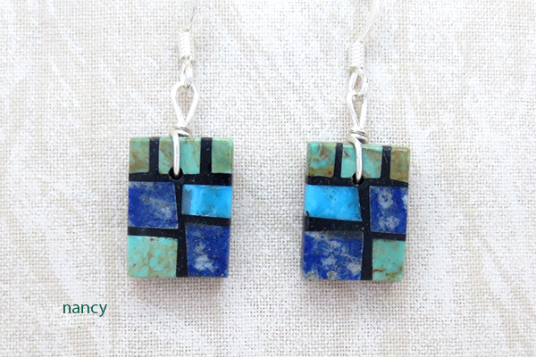 Image 0 of  Turquoise & Lapis Inlay Earrings Santo Domingo Jewelry - 3705pl