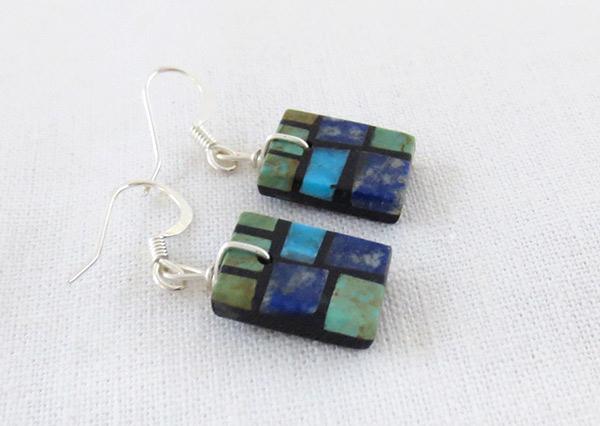 Image 1 of  Turquoise & Lapis Inlay Earrings Santo Domingo Jewelry - 3705pl