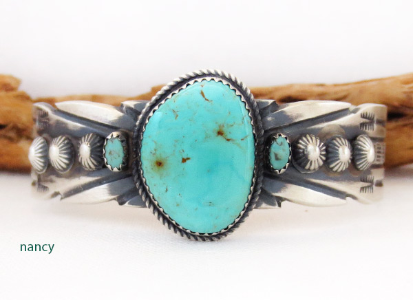Image 0 of       Sterling Silver & Turquoise Bracelet Navajo Jewelry - 3714dt