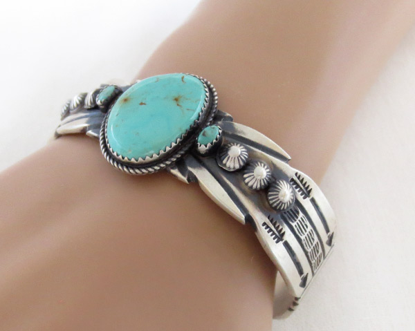 Image 1 of       Sterling Silver & Turquoise Bracelet Navajo Jewelry - 3714dt