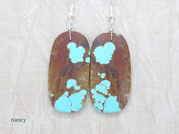 ative American Jewelry #8 Mine Turquoise Slab Earrings - 3718dt