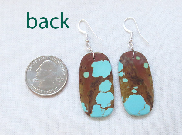 Image 2 of      Native American Jewelry #8 Mine Turquoise Slab Earrings - 3718dt