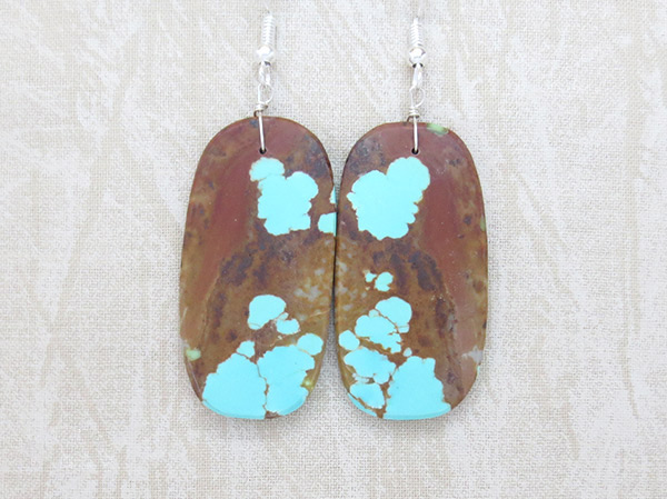Native American Jewelry #8 Mine Turquoise Slab Earrings - 3718dt