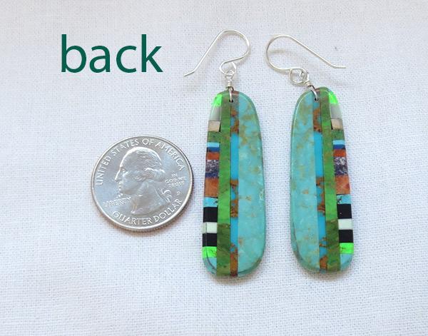 Image 2 of     Turquoise & Stone Slab Earrings Santo Domingo Jewelry - 3709pl