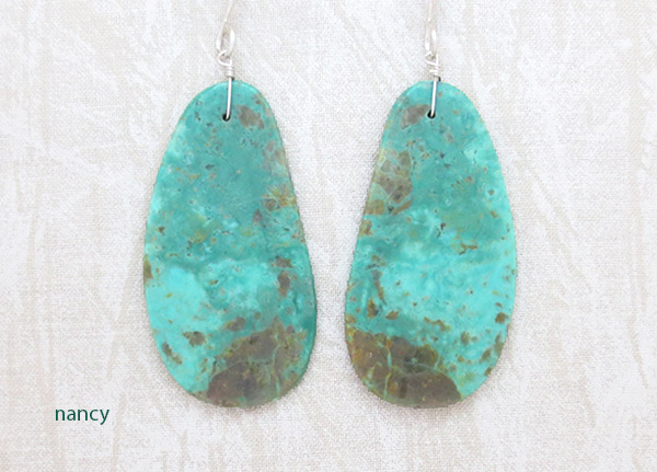 Turquoise Slab Earrings Santo Domingo Jewelry - 3720rio