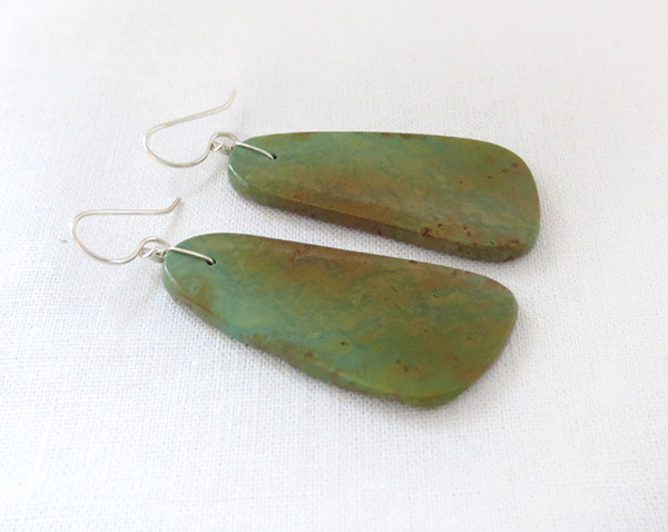Image 1 of      Turquoise Slab Earrings Santo Domingo Jewelry - 3721rio