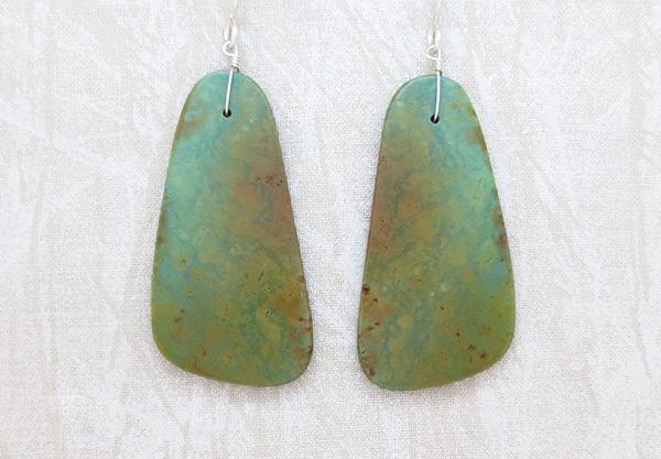 Image 0 of      Turquoise Slab Earrings Santo Domingo Jewelry - 3721rio