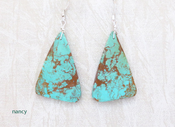 Large Turquoise Slab Earrings Native American Jewelry - 3729rio