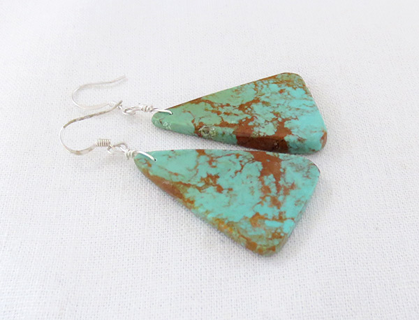 Image 1 of  Large Turquoise Slab Earrings Native American Jewelry - 3729rio