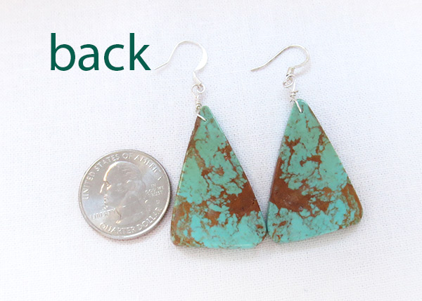 Image 2 of  Large Turquoise Slab Earrings Native American Jewelry - 3729rio