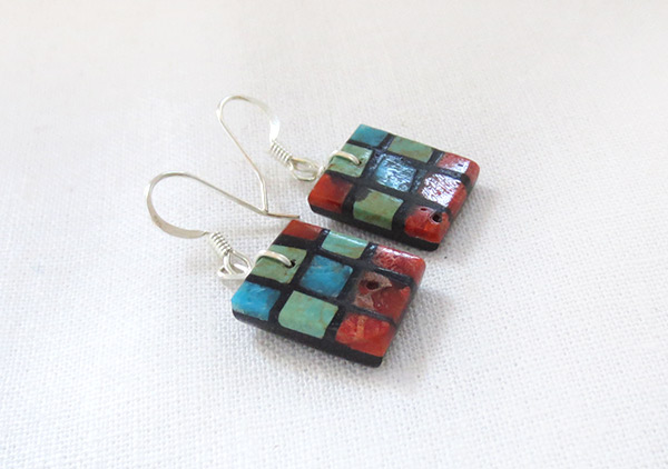 Image 1 of Turquoise & Apple Coral Inlay Earrings Santo Domingo Jewelry - 3728pl