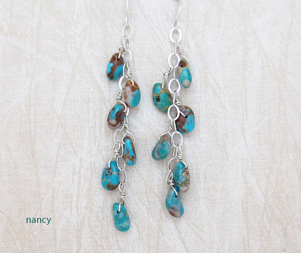 Long Turquoise & Sterling Silver Earrings Native American Jewelry - 3730sw