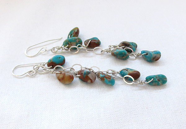 Image 1 of      Long Turquoise & Sterling Silver Earrings Native American Jewelry - 3730sw