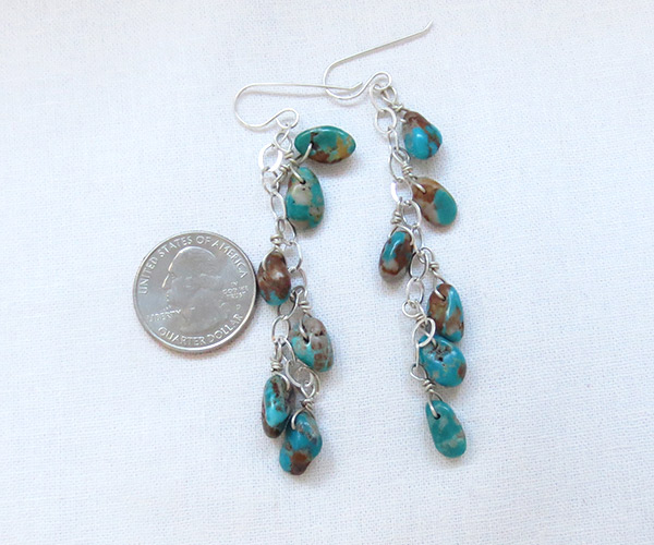 Image 2 of      Long Turquoise & Sterling Silver Earrings Native American Jewelry - 3730sw