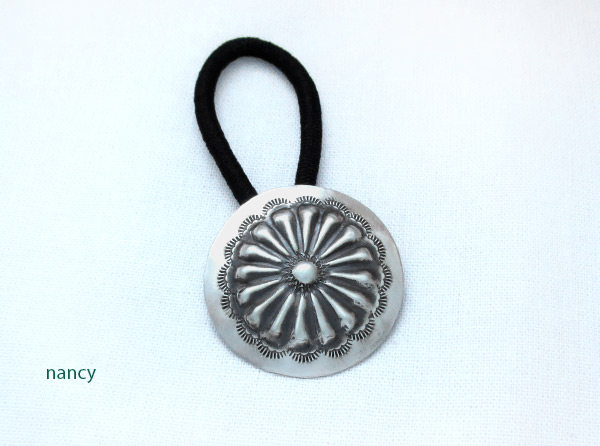 Handcrafted Stamped Sterling Silver Pony Tail Holder Navajo - 3734rb