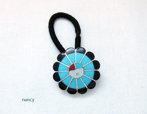Turquoise & Black Jet Sterling Silver Pony Tail Holder Zuni Jewelry - 3732rb
