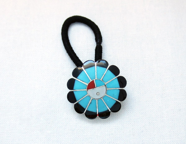 Image 0 of     Turquoise & Black Jet Sterling Silver Pony Tail Holder Zuni Jewelry - 3732rb