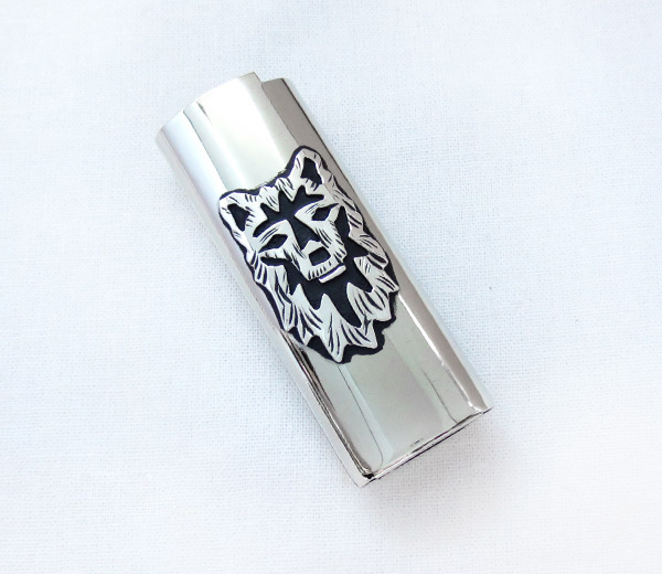 Image 0 of       Nickel & Sterling Silver Wolf Lighter Case Navajo - 3736rb