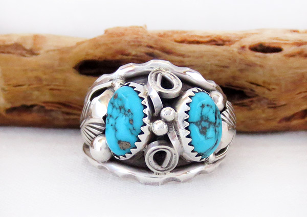 Large Turquoise & Sterling Silver Ring Sz 12 Navajo Jewelry - 3739rb