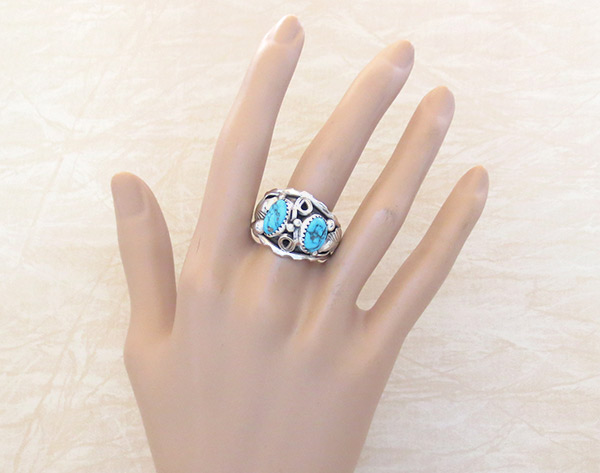 Image 1 of      Large Turquoise & Sterling Silver Ring Sz 12 Navajo Jewelry - 3739rb