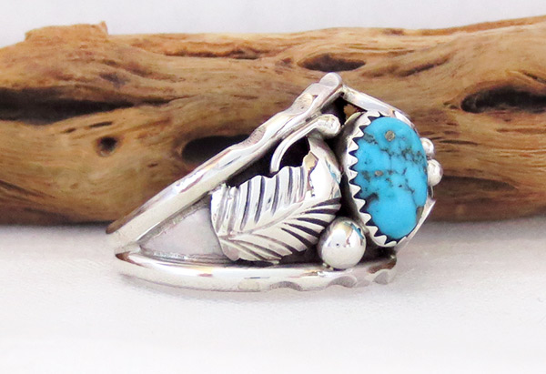 Image 2 of      Large Turquoise & Sterling Silver Ring Sz 12 Navajo Jewelry - 3739rb