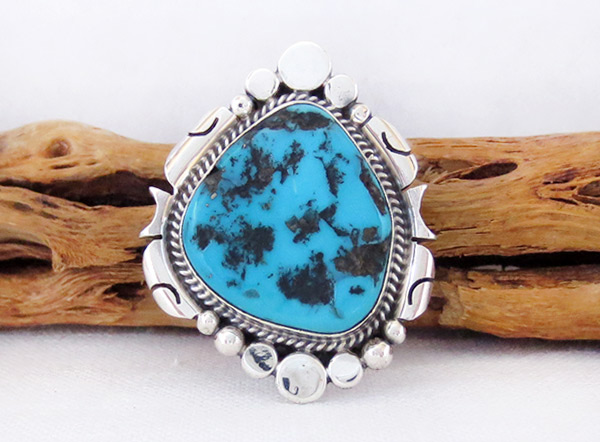 Turquoise Nugget & Sterling Silver Ring Sz 8.5 Navajo Jewelry - 3738rb