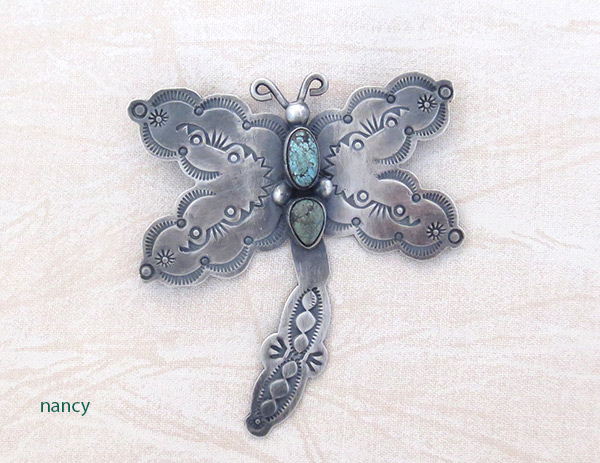 Image 0 of   Turquoise & Sterling Silver Dragfonfly Pin Navajo Jewelry - 3716sw