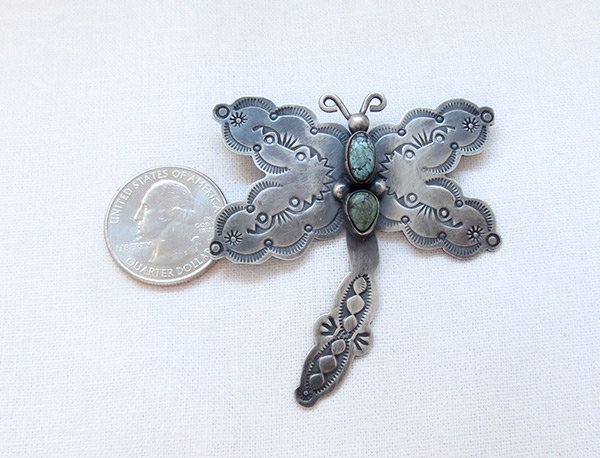 Image 1 of   Turquoise & Sterling Silver Dragfonfly Pin / Brooch Navajo Jewelry - 3716sw