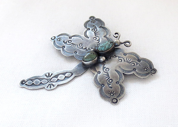 Image 2 of   Turquoise & Sterling Silver Dragfonfly Pin Navajo Jewelry - 3716sw