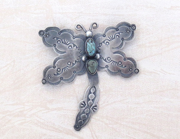 Turquoise & Sterling Silver Dragfonfly Pin / Brooch Navajo Jewelry - 3716sw