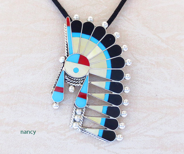 Turquoise Jet Inlay Sun Face Pendant / Pin Zuni Jewelry - 3726rb